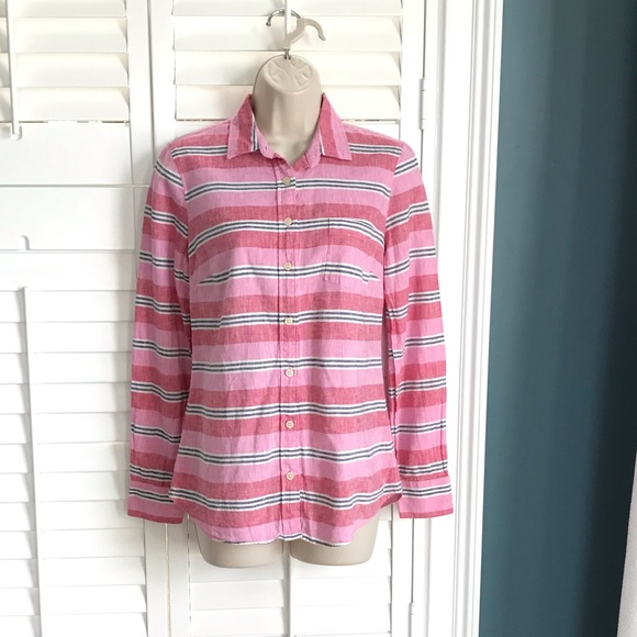 f54c8d9e4b2c1f J. Crew Tops | Jcrew Xs Striped Linen Perfect Fit Button Up Shirt ...